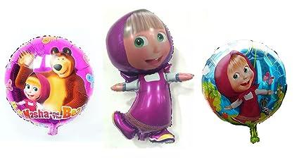 Amazon.com: [rustoyshop] 3 PSC metal inflable globo Masha y ...