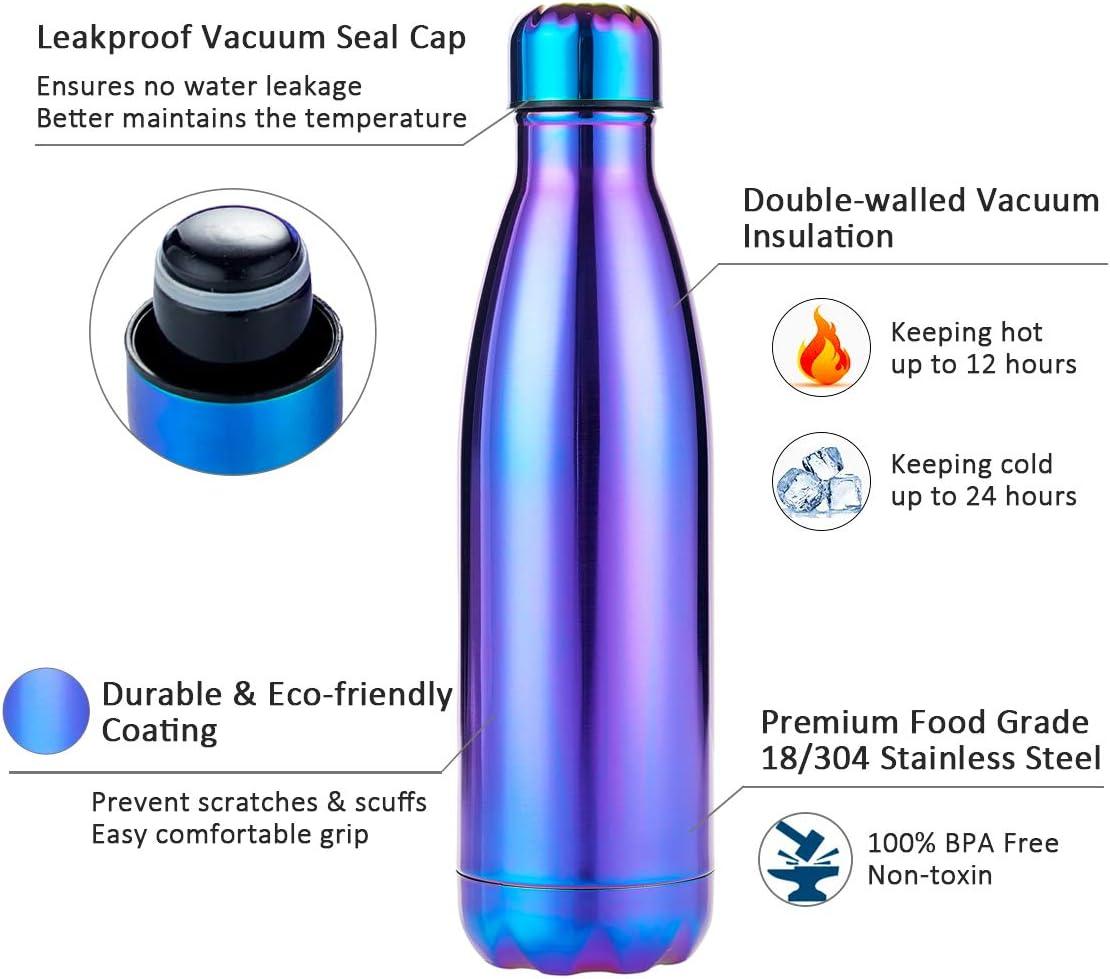 Froid 24h ou Chaud 12h I Kua Fly Bouteille deau Isotherme 500ml R/éutilisable Gourde sans BPA Double Paroi Gourde INOX