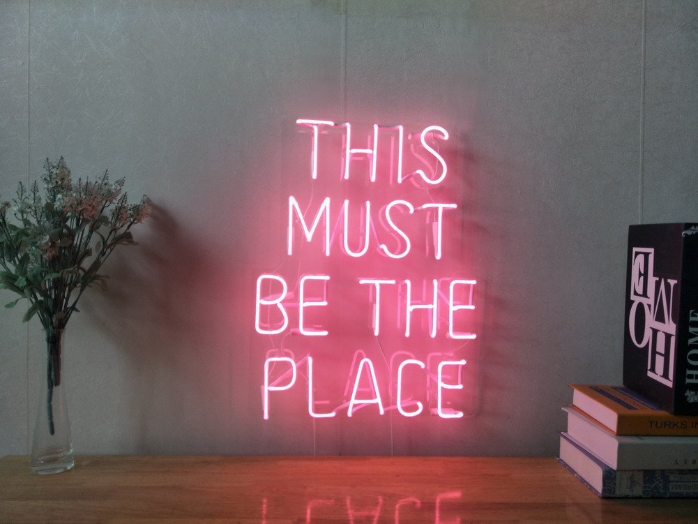 This Must Be The Place Real Glass Neon Sign For Bedroom Garage Bar Man Cave Room Home Decor Handmade Artwork Visual Art Dimmable Wall Lighting Includes Dimmer