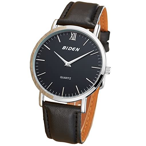 BIDEN Super slim Men Quartz Watchs leather Analog Casual Wristwatch Mens Relojes Hombre
