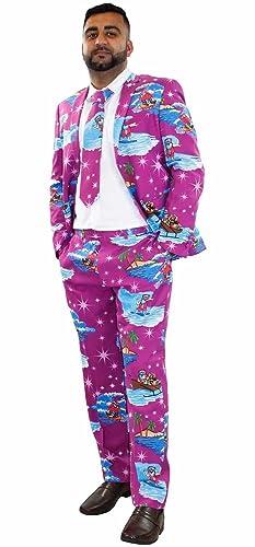 True Face Men Xmas Print Tie Waistcoat Dress Casual Suit
