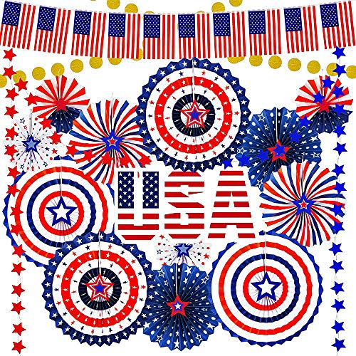 Supla 43 Pack Patriotic Decorations 4th of July Red White Blue Decorations American Flag Banner Hanging Paper Fans Star Garland Gold Glitter Dots Garland Streamers for Independence Day Memorial Day USA Party Decoration]()