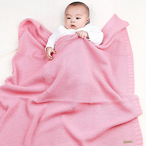 Easy Knit Blanket (MiMiXiong Knit Baby Blankets Super Soft Swaddle Wrap For Toddler Stroller Bedding Cover (Pink))