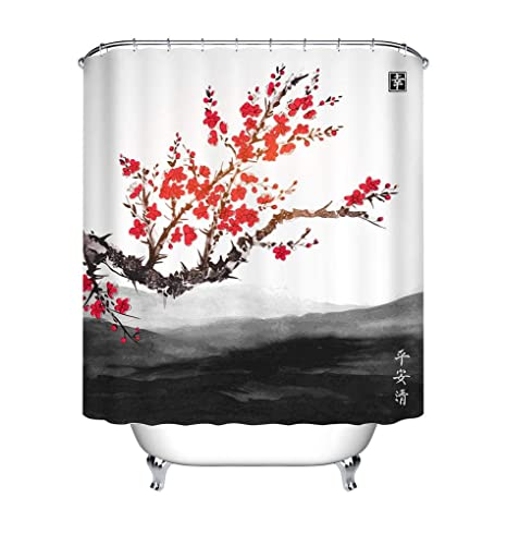 180x180 cm Zen Golden Buddha Theme Fabric Shower Curtain Bath Waterproof /& Hooks