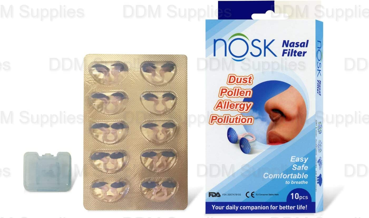 Dual Nasal Filter with Single Retainer Box - NOSK (10pcs) Medium Size FDA APPROVED