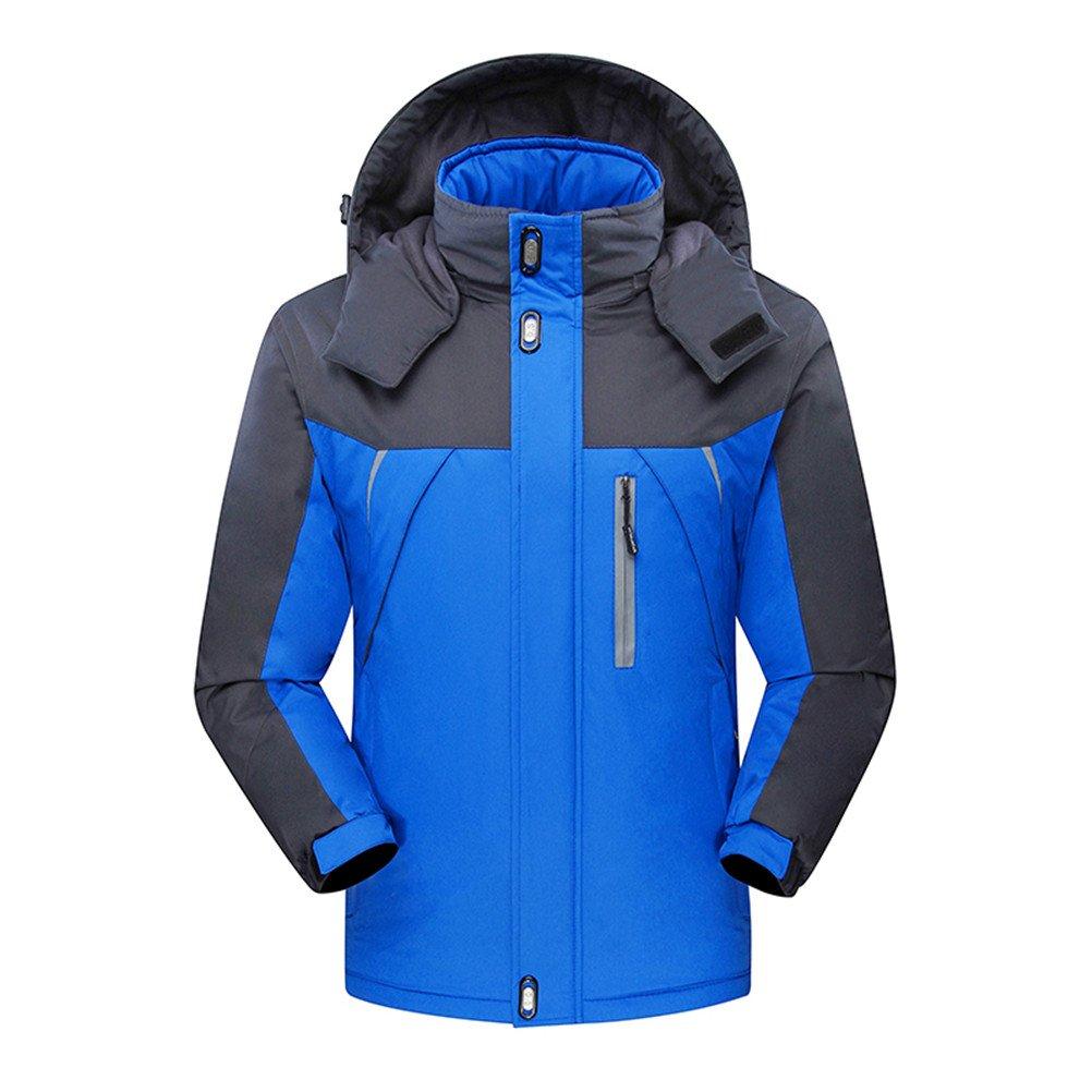 Flyrioc Men's Winter Ski Jacket Windproof Fleece Jacket Warm Coat Outdoor Sports Jacket F71012-S-Blue
