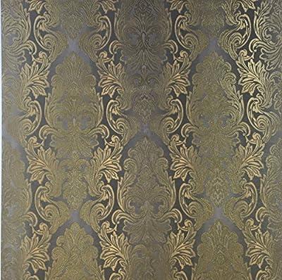 QUADRUPLE ROLL 113.52sq.ft(4single rolls size) Slavyanski wallcovering washable Victorian pattern Vinyl Non-Woven Wallpaper gold gray silver 3D textured stripes glitters metallic damask paste the wall