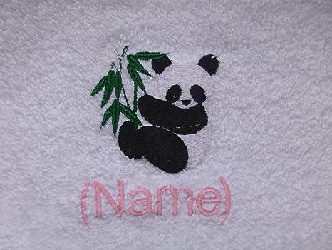 Toalla de mano con un PANDA Logo y nombre de su elección (por favor envíenos