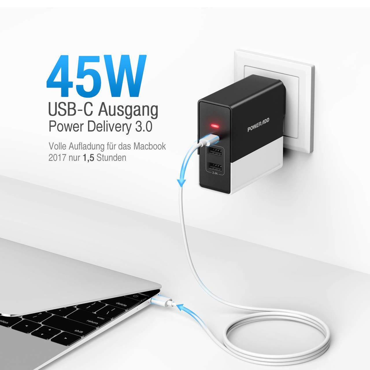 PPWERADD 57W USBC Ladegerät mit 2 Port USB und PD Wand Ladegerät für XS/XS Max/XR/X/8/8 Plus, Samsung Galaxy, Huawei, Xiaomi