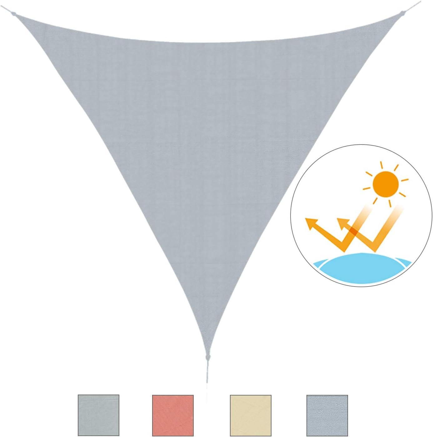 Outsunny Toldo Vela 5x5x5m Triangulo Color Gris Sombrilla Parasol ...