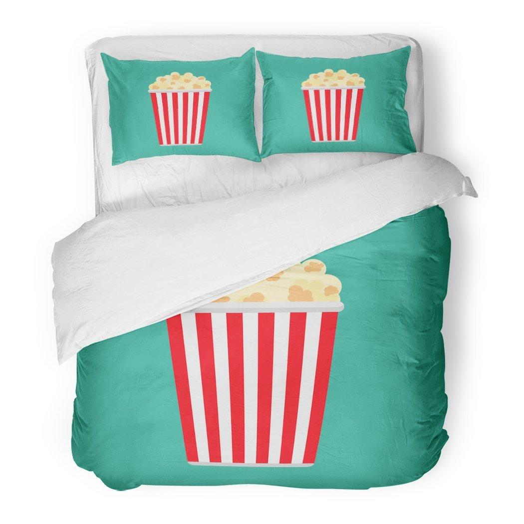 SanChic Duvet Cover Set Blue Corn Popcorn Symbol Food Cinema Movie Film Flat Pop Box Bucket Decorative Bedding Set with 2 Pillow Shams Full/Queen Size