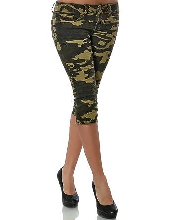 Damen Jeans Hose Bermuda 15549 Camouflage Kurze No Capri thxQrsdC