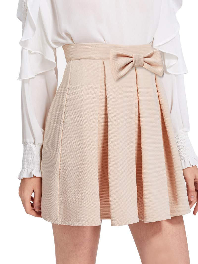 JOAUR Casual Mini Skirt for Women Bow Front Box Pleated Textured Skirt