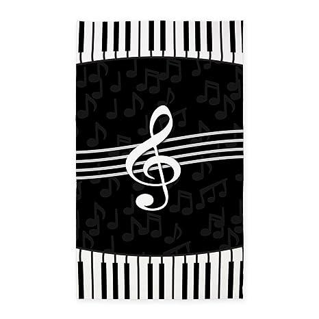 26e99e8c6eda Amazon.com: CafePress Stylish Designer Piano and Music Notes 3'X5 ...