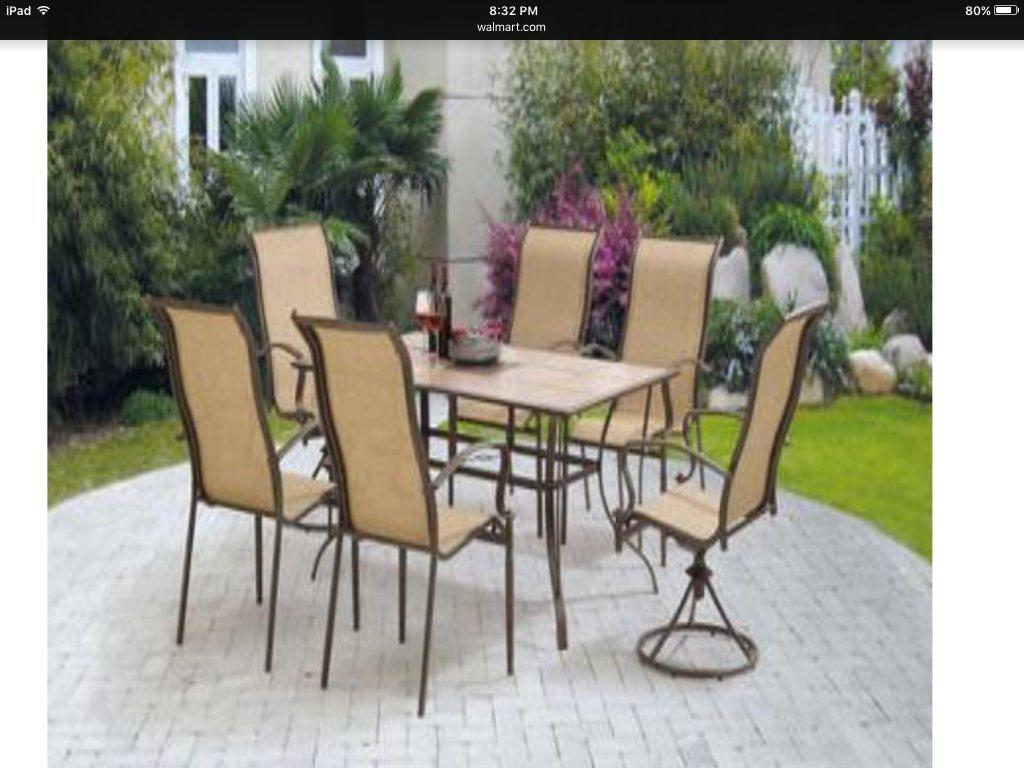 Amazoncom Mainstays Square Tile 7Piece Patio Dining Set Seats