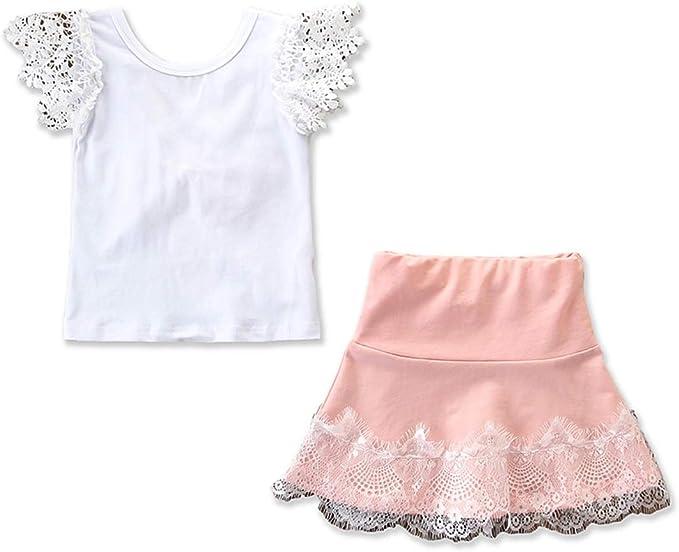 Moda Infantil para niños Ropa Casual Ropa Back Bowknot T Shirt + ...