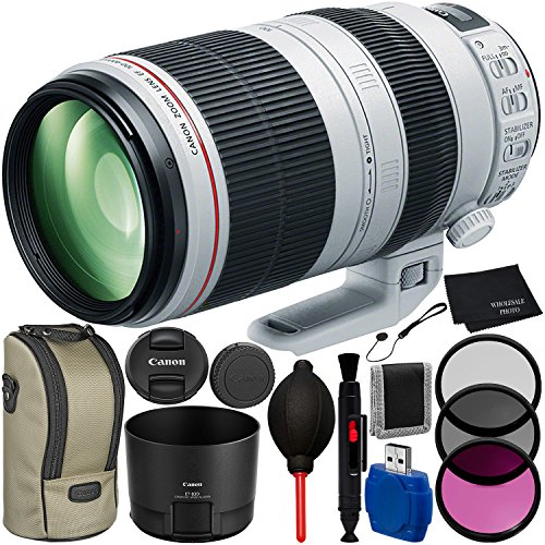 Canon EF 100-400mm f/4.5-5.6L IS II USM Lens Bundle with Manufacturer Accessories & Accessory Kit for EOS 7D Mark II, 7D, 80D, 70D, 60D, 50D, 40D, 30D, 20D, Rebel T6s, T6i, T5i, T4i, SL1, T3i, T6, T5 from Canon