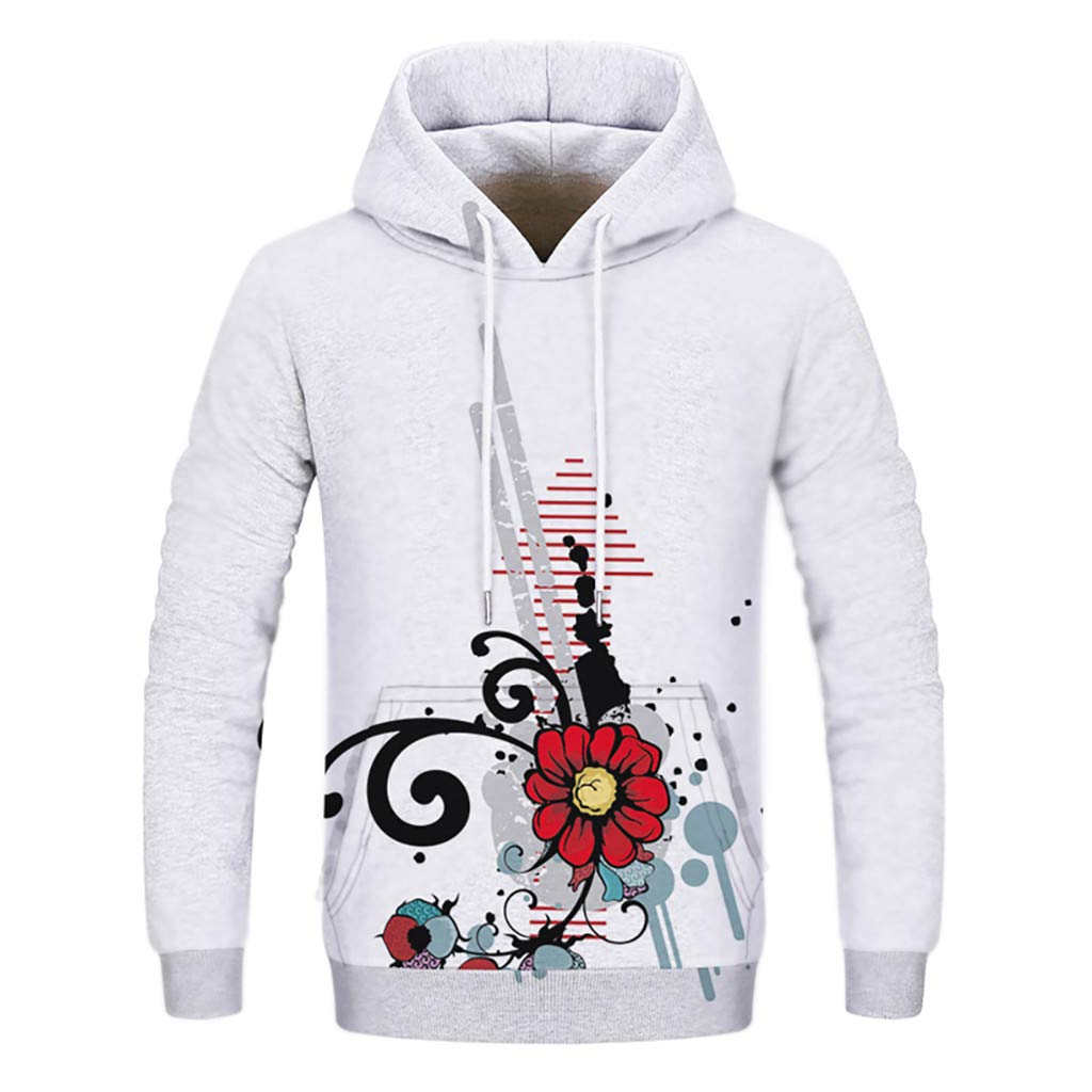 Star/_wuvi Unisex Novelty 3D Flower Printed Hoodie Drawstring Hooded Pullover Tops Sweatshirt with Front Pocket,S~3XL