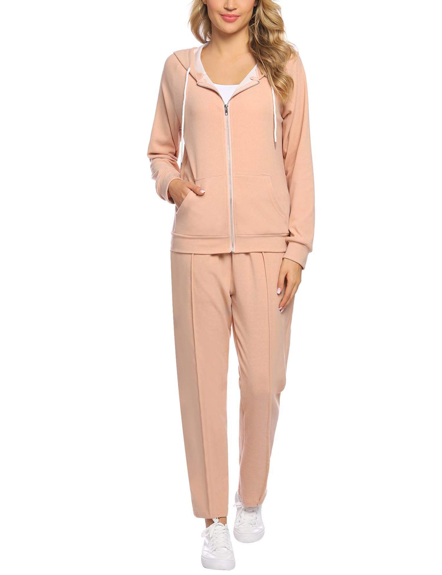 Abollria Women's Solid Velour Sweatsuit Set Hoodie and Pants Sport Suits Tracksuits Apricot by Abollria