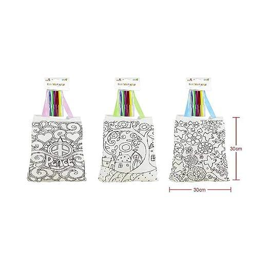 Cisne 2013, SL Lote de 3 Bolsas para Colorear con Pinturas de Cera incluida. Bolsas Mochila Infantiles para Pintar niño y niña para Fiestas, ...