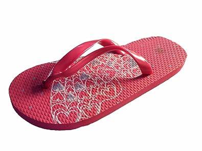 Girls Summer Butterfly Flip Flop Sandals Shoes Pink Navy Children Size 9 UK 3