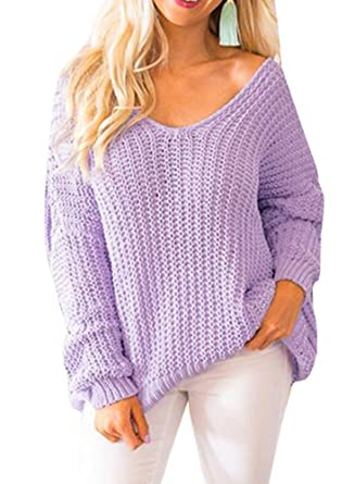 3d44c7087 Womens Sweaters Pullover Oversized Off The Shoulder V Neck Knit ...