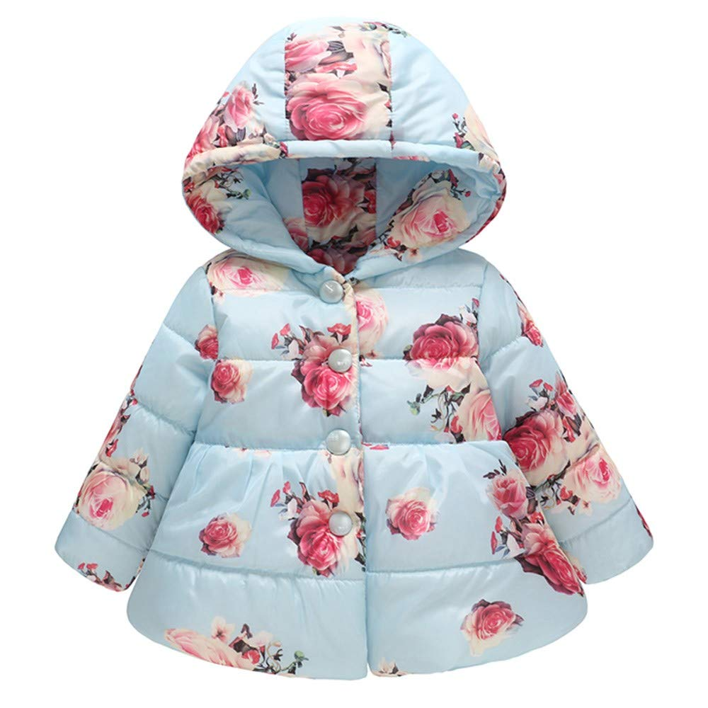 Jarsh Toddler Baby Girls Winter Floral Thick Warm Jacket Hooded Windproof Coat
