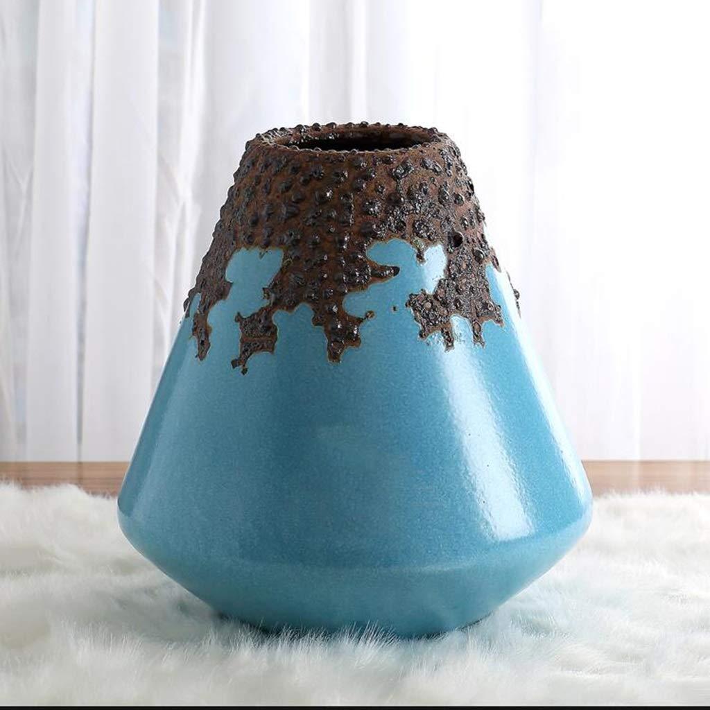 QYSZYG 青いセラミック花瓶装飾手作りの花瓶底滑り止め3オプション 花瓶 (サイズ さいず : 10×25×26cm) B07RJWQB22  10×25×26cm