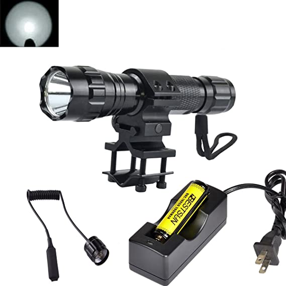 BESTSUN Super Bright Tactical Flashlight WF-501B Cree Xm-L2 LED 1200 Lumens 1 Mode Hunting Light Lamp Torch Set with Pressure Tail Switch