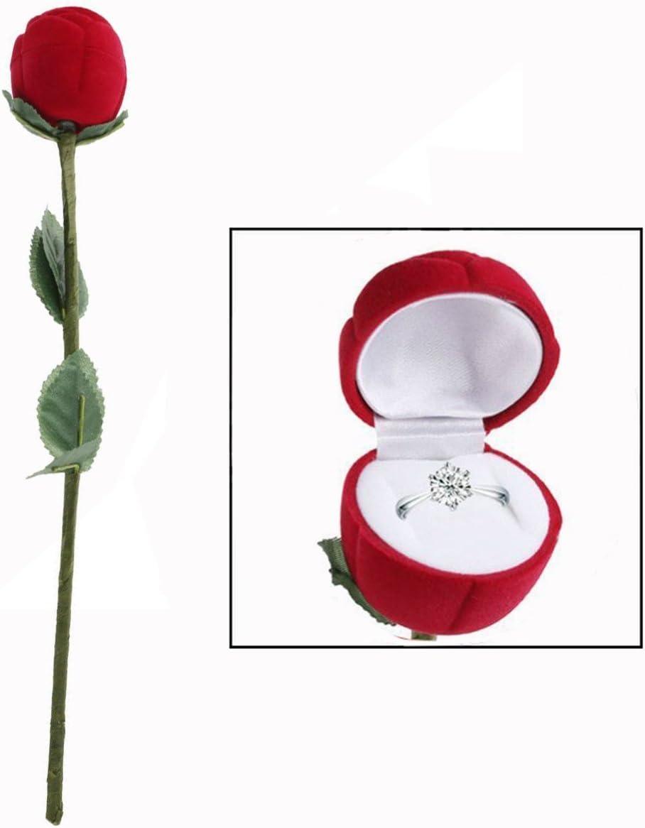 OFKPO Caja de Regalo - para joyería con Forma de Rosa roja