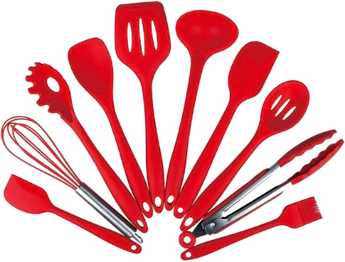 Color : Red Silicon Kitchen Utensil Set 10Pcs Heat Resistant Non-Stick Kitchen Utensil Set Cooking Tools