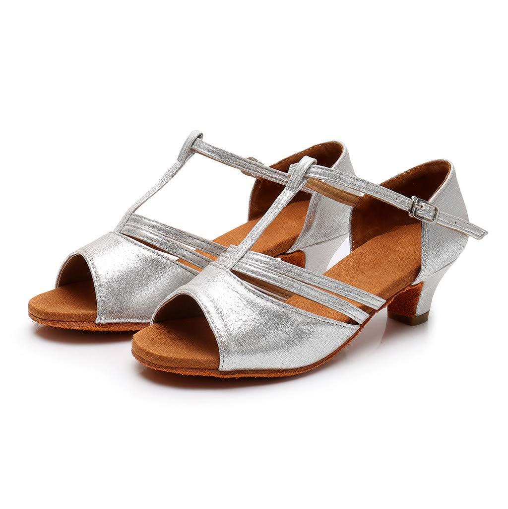 ★QueenBB★ Girls Soft-Sole Satin Ballroom Shoes Latin Salsa Dance Shoes Ballroom Party Ballroom Wear (Little/Big Kid) Silver