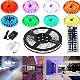 4EverShine 5 Meters Waterproof LUXURY Led Strip Lighting Set 16.4 Feet 5050 RGB 150LEDs Flexible Color Changing Full Kit with 44 Keys IR Remote Controller adapter for Stage Decorative