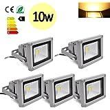 Hengda® 5 Stück 10W SMD LED Strahler Fluter IP65 Flutlicht Leuchtmittel Baustrahler Scheinwerfer Warmweiß Wandstrahler Außenstahler Leuchtmittel 85-260V AC