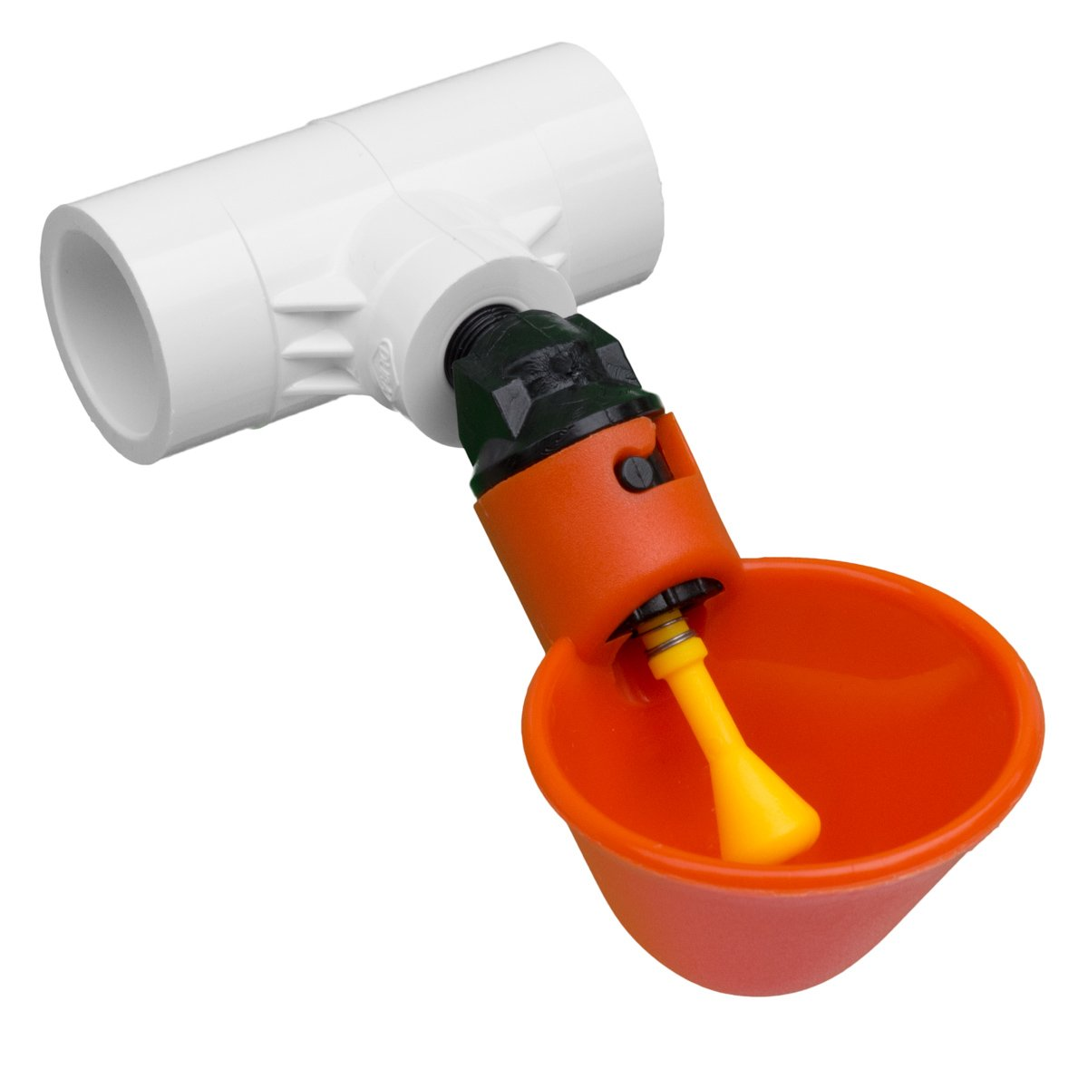 Drinker Cups with Tee Fittings for Backyard Flock Automatic Poultry Watering System (50 Cups / 50 Fittings)