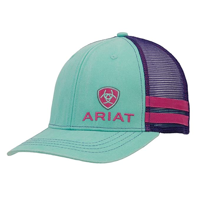 Ariat Women's Offset Logo Stripe Mesh Snap Cap, Turquoise, One Size