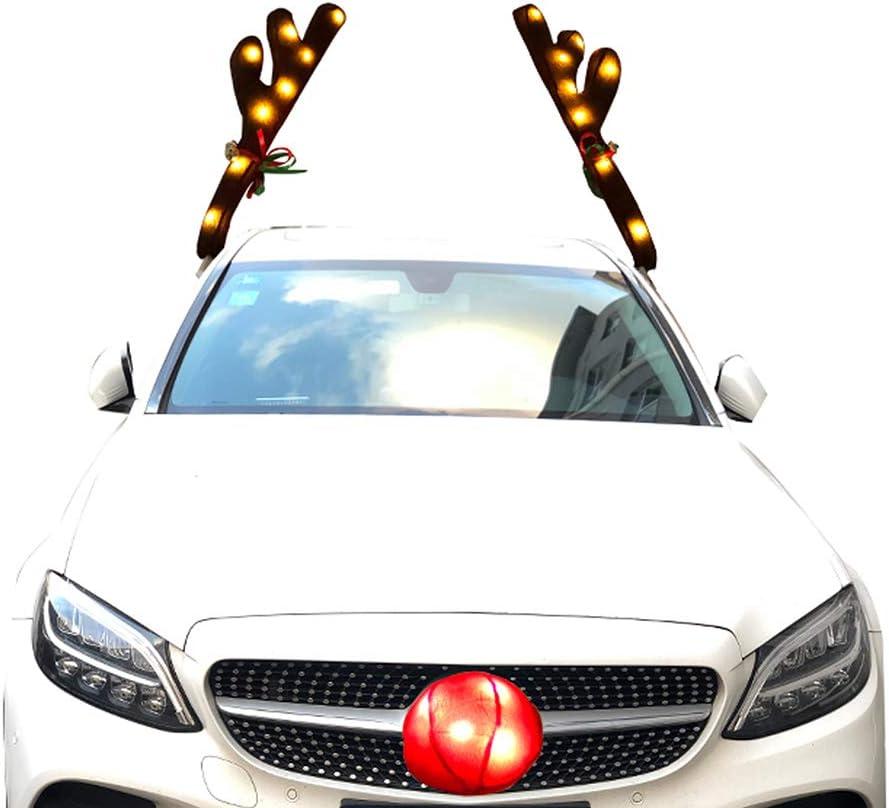 Juego de Disfraz de Coche de Reno navide/ño con Luces LED QoFina Astas de Reno de Coche Cuernos y Nariz de Campanilla de Navidad para Todo Tipo de Coches 2020