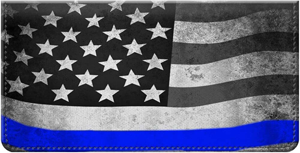 Snaptotes Thin Blue Line American Flag in Support of Police and Law Enforcement Manufactured in USA Checkbook Cover