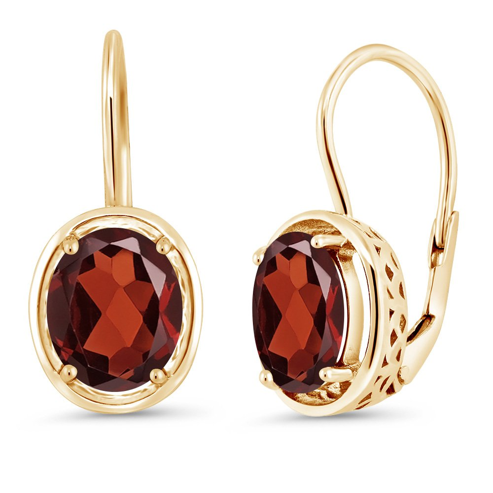 Red Garnet 18K Yellow Gold Plated Silver Dangle Earrings, 3.60 Ctw Oval