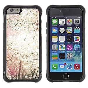 Híbridos estuche rígido plástico de protección con soporte para el Apple iPhone 6 (4.7) - sun spring cherry blossom flowers apple