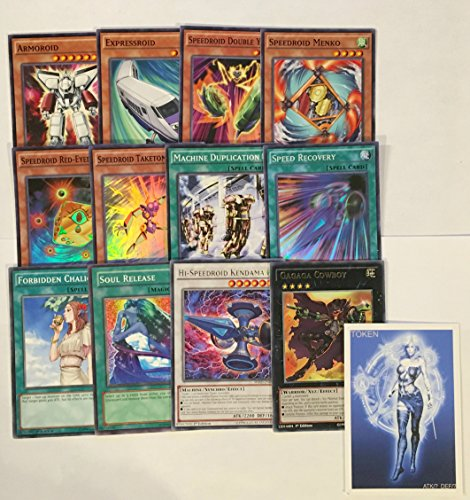 YUGIOH Tournament Ready Speedroid Deck with Complete Extra & Side Deck and exclusive Phantasm Gaming Token + Deck Box & 100 Sleeves