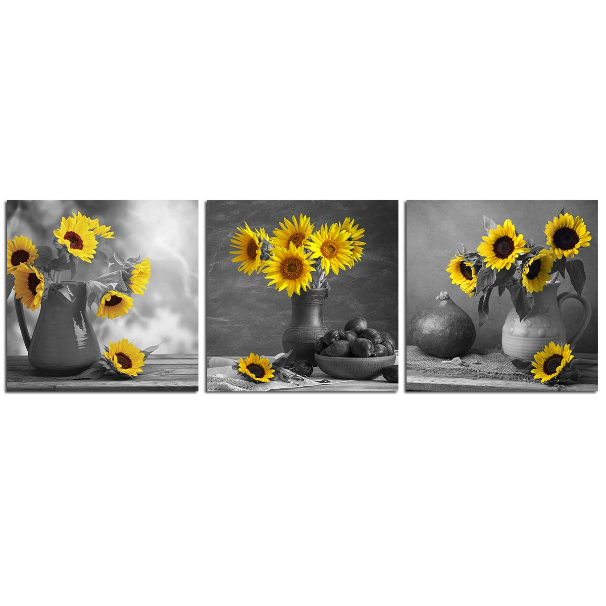 Black White Sunflower Wall Art Yellow Floral Canvas Painting Simple Life 12 X12 3 Piece Flower Artwork Pictures For Living Room Decoration Home Kitchen Decor Unframed Modern Giclee Print Buy Online