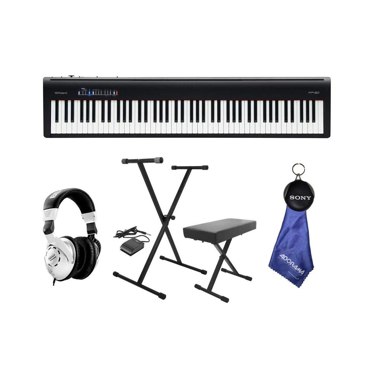 Roland Roland FP-30 Digital Piano with Keyboard Stand, Bench, Pedal and Headphone Kit by Roland