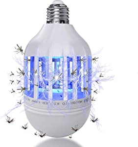 Latest Bug Zapper Light Bulb for Outdoor and Indoor,15W 2 in 1 Mosquito Killer Lamp,Electric Fly Zapper