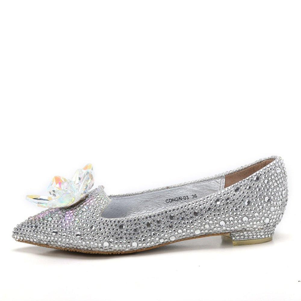 MUYII Damen Cinderella Crystal High Heels Braut Strass Hochzeit Schuhe,Silber-1.5CM-34
