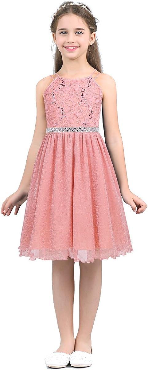 YiZYiF Big Girls' Halter Sequins Lace Chiffon Flower Dress Junior Wedding Bridesmaid Prom Party Gowns