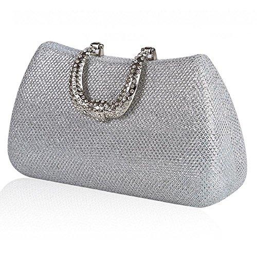 Handbag Clutch£¬ Evening Womens Cosmetic Prom £¨18 silver Rhinestone Wedding X NVBAO Bridal Mini Bag 10cm£© nvU1wBqx