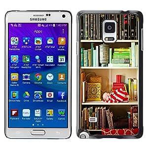 TopCaseStore / la caja del caucho duro de la cubierta de protección de la piel - Shelf Reading Teach Library School - Samsung Galaxy Note 4 SM-N910
