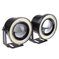 High Power LED Fog Light Projector Cob with White Angel Eye Ring 15W (3.5-inch)- Set Of 2