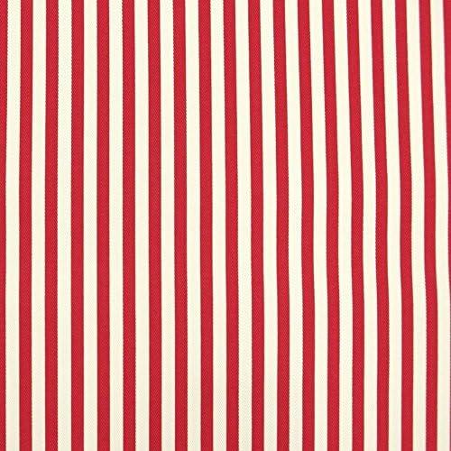 手芸のいとや生地 広幅ストライプ ツィル 色部分約5mm巾 レッド 生地幅-約110cm×50cm(綿100%) 手芸・ハンドメイド用品